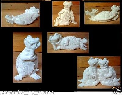 Tortoise Set of 6 mini TURTLES READY TO PAINT CERAMIC BISQUE up to 3 inches