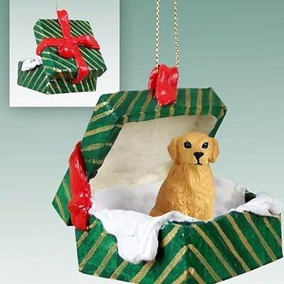 Golden Retriever Dog Green Gift Box Christmas Holiday ORNAMENT