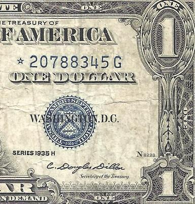 1935H $1 BLUE Seal SILVER Certificate! **STAR** F/VF! Old US Paper Money!
