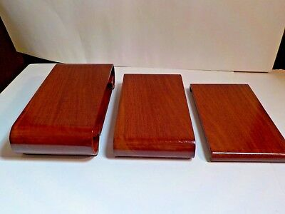 vintage lot set of 3 scroll asian wood stands (more ) NOS reddish brown #5481