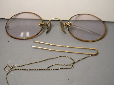 Antique Pince Nez Windsor Style Eyeglasses Glasses Spectacles Chain Case Old