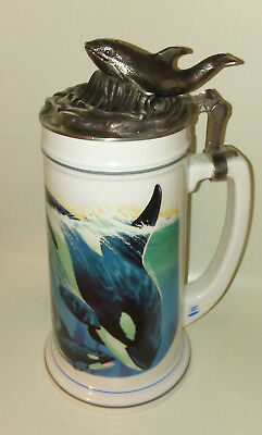 Orca Whale Stein Limited Edition Made in Germany Wal Rastal Ceramic Pewter