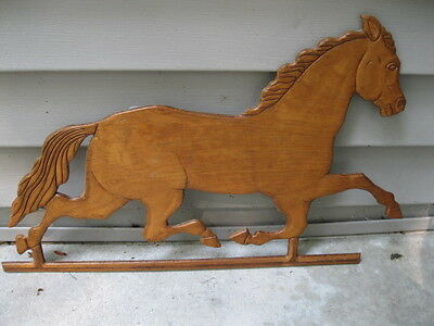 "Vintage Trotting Horse Wood Carving Folk Art 21"" Long One Sided Wall Hanger"