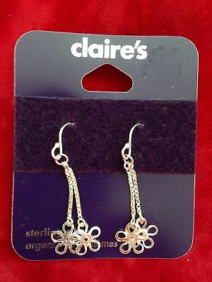 1 Pair Of 925 Sterling Silver Flower Drop Dangle Earrings Jewellery Claire's NEW