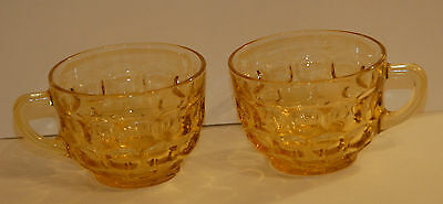 Vintage Amber  Yellow Pressed Glass Punch Cup Set 2 Pair Thumbprint Vgc