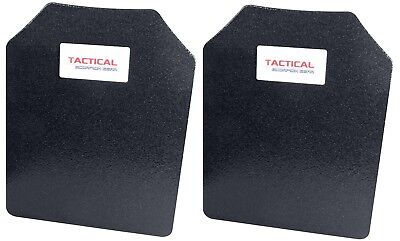 Level III AR500 Steel Body Armor Pair 11x14 Curved Plate Coated - Quick Ship