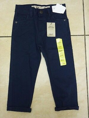 Denim & Co Boys Adjustable Waist Slim Jeans Age 2-3 Years BNWT Navy Uk Freepost