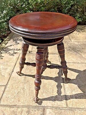 Antique PIANO STOOL Swivel Claw Foot Glass Ball Old Repair