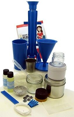 Candle making kit. Moulds, tins, jars, scent, dye, votive, wax makes 20 candles