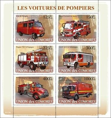 Fire Engine Apparatus Truck Emergency Vehicle Stamp Sheet (2008 Comoros)