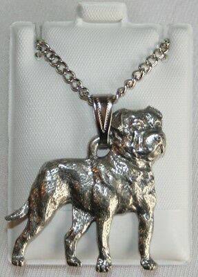 American Bulldog Dog Harris Fine Pewter Pendant w Chain Necklace USA Made