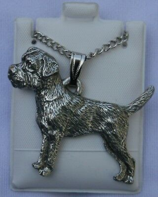 Border Terrier Dog Harris Fine Pewter Pendant w Chain Necklace USA Made