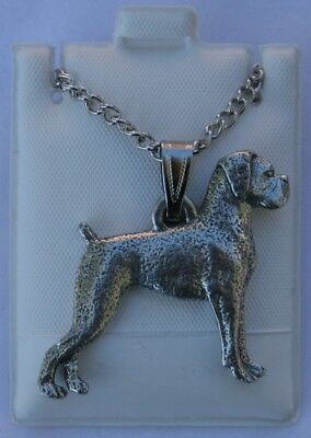Boxer Uncropped Ears Dog Harris Fine Pewter Pendant w Chain Necklace USA Made