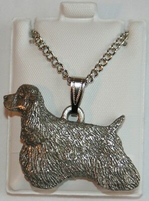 Cocker Spaniel Show Cut Dog Harris Fine Pewter Pendant w Chain Necklace USA Made