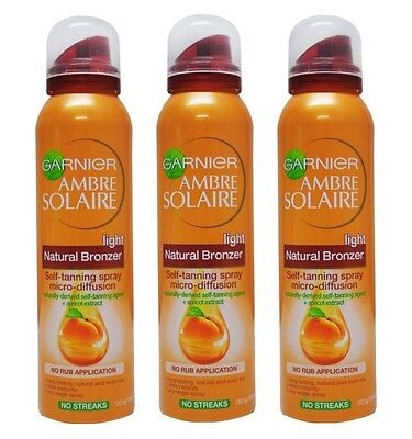 3 X Garnier Ambre Solaire Bronzer Self Tanning Spray Light - 150Ml X 3 - New
