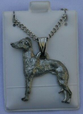 Italian Greyhound Dog Harris Fine Pewter Pendant w Chain Necklace USA Made