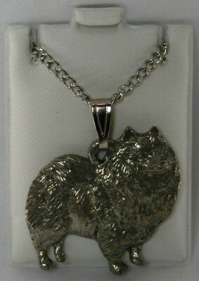 Keeshond Dog Harris Fine Pewter Pendant w Chain Necklace USA Made