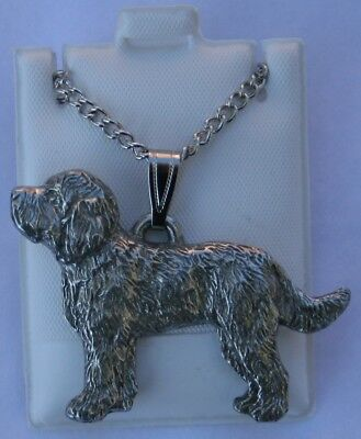 Labradoodle Dog Harris Fine Pewter Pendant w Chain Necklace USA Made