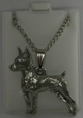 Miniature Pinscher Dog Harris Fine Pewter Pendant w Chain Necklace USA Made