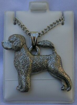 Portuguese Water Dog Dog Harris Fine Pewter Pendant w Chain Necklace USA Made