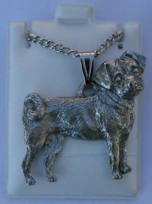 Puggle Dog Harris Fine Pewter Pendant w Chain Necklace USA Made