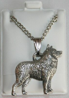 Schipperke Dog Harris Fine Pewter Pendant w Chain Necklace USA Made