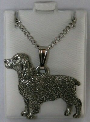 Springer Spaniel Dog Harris Fine Pewter Pendant w Chain Necklace USA Made