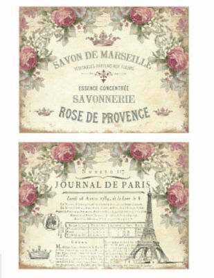 Vintage Image Shabby Victorian Roses French Labels Waterslide Decals LAB433