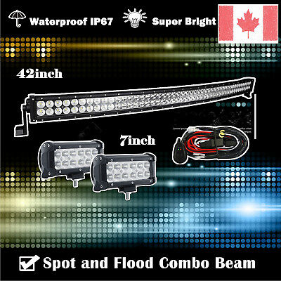 "42inch Curved Led Light bar +2X 7"" CREE Work Pods Offroad Ford Jeep SUV Truck 40"