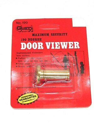 NOS! GUARD SECURITY 190 DEGREE SOLID BRASS DOOR PEEP HOLE VIEWER, No. 190
