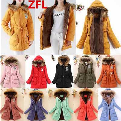 2017 Womens Thicken DUFFLE Fur Collar Hooded Quilted Jacket Winter Parka Coat