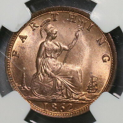 1862 NGC MS 64 RB Farthing Victoria GREAT BRITAIN Coin (16091111CZ)