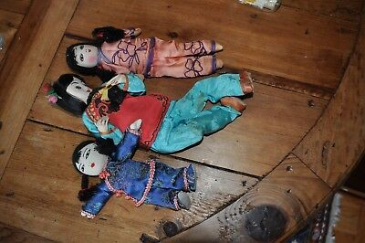 "Vintage Chinese Cloth Rag Dolls Set Of 3 Fabric Asian Dolls 6, 8 & 10""  Nice!"