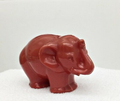"""Vintage Rexall Drugs """"Jumbo Values""""  Elephant Coin Bank Pinkish-Red Plastic"""