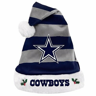 Dallas Cowboys Team Logo Holiday Plush Santa Hat NEW! Christmas STRIPED
