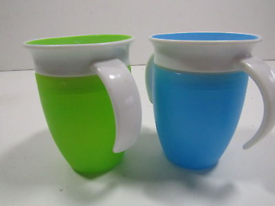 Munchkin Miracle 360 Trainer Cup, Green/Blue, 7 Ounce 2 Count Brand New