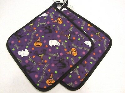 LONGABERGER HALLOWEEN PARTY Fabric POT HOLDERS Hot Pad SET of TWO NIB