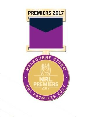 Melbourne Storm NRL Premiers 2017 Medal Badge with Ribbon Collectors Boxed