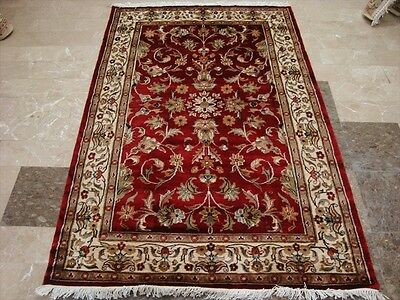 RED LOVE WOW ALLOVER FLOWERS HAND KNOTTED RUG WOOL SILK CARPET 6x4 FB-2250