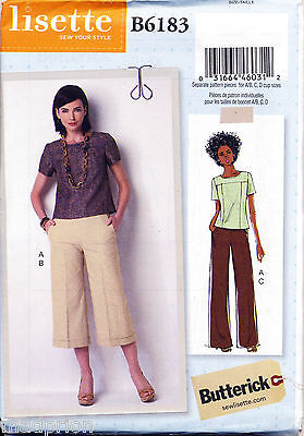 Butterick Sewing Pattern 6183 Misses 14-22 Pullover Top, Culottes & Flared Pants