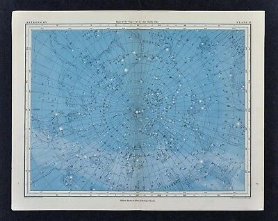 1855 Johnston Astronomy Star Map 5 North Pole Polaris Constellations Sky Charts