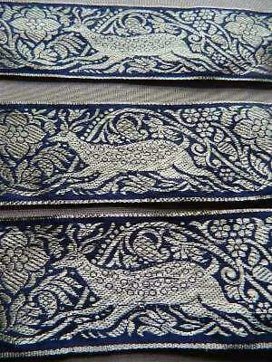 Vintage blue & gold woven ribbon trim Gold leaping Reindeer Xmas crafts 4yds