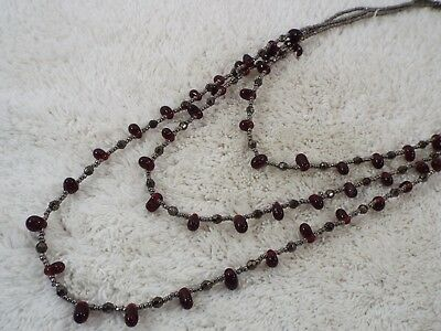 Gray Red Glass Bead Multi Strand Necklace (C40)