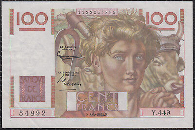 100 Francs from France 3.4.52 Xf+ G5