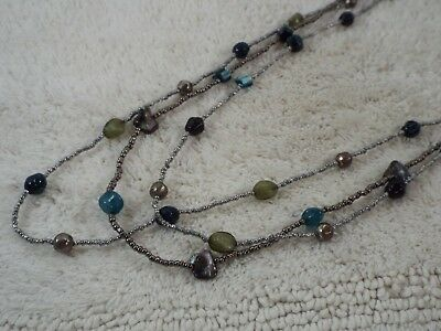 Gray Blue Green Bead Multi Strand Necklace (C30)