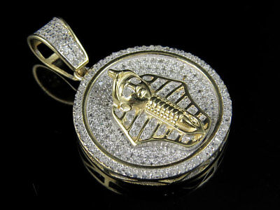 Men's 10K Yellow Gold Egyptian Pharoah Genuine Diamond Pendant Charm 0.60ct 1.0""