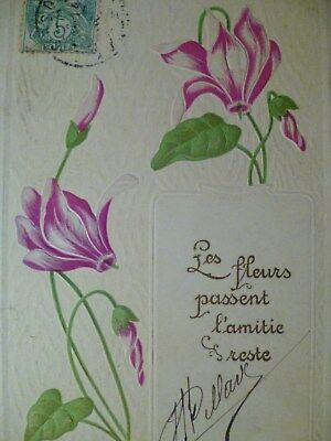 cpa gaufrée fleur cyclamen postcard embossed flower cartolina fiore carte ancien