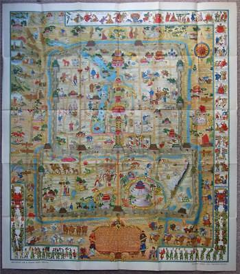 A Map & History of Peiping, 1936 1st, Frank Dorn, Pictorial Map, Peking Beijing