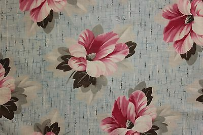 Vintage French 1920's printed cotton LARGE scale painterly fabric material old ~