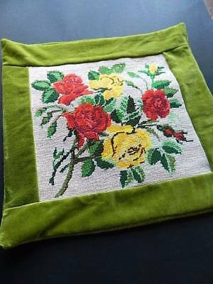 Antique Country House hand embroidered woolwork & velvet cushion cover